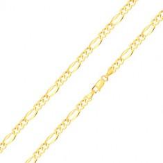 Náramek ve 14K zlatě - podlouhlé očko s rozšířenými okraji, tři oválná očka, 210 mm