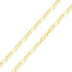 Zlatý náramek 585 - tři oválná očka, podlouhlé očko s rozšířenými hranami, 180 mm