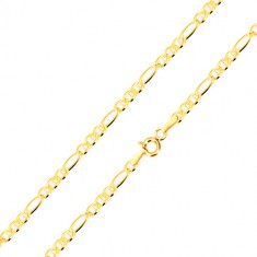 Náramek ve žlutém zlatě 585 - podlouhlé očko, tři oválná očka s tyčinkou, 200 mm