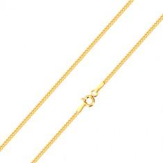 Jemný řetízek ze žlutého 14K zlata, linie šikmo napojovaných oček, 500 mm