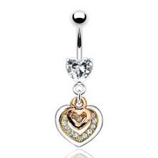 Piercing do pupíku - srdce měděné, zlaté a stříbrné barvy, čiré zirkony
