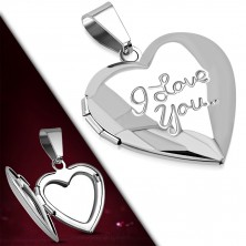 "Medailon z chirurgické oceli - zrcadlově lesklé srdíčko, nápis ""I Love You.."""