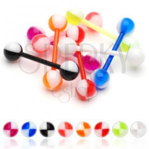 Piercing do jazyka UV barevné čtvrtky