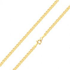 Řetízek ze žlutého zlata 375 - elipsovité a oválné očko v sobě, 450 mm