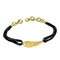 Šňůrkový náramek z chirurgické oceli - andělské křídlo ve zlatém barevném odstínu