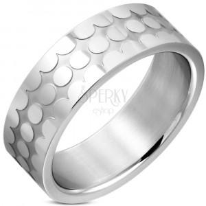 Prsten z chirurgické oceli - lesklé kroužky, matný zářez, 8 mm