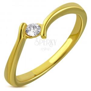 Prsten zlaté barvy z chirurgické oceli - zahnutá ramena, třpytivý zirkon