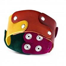 Kožený náramek - dílky puzzle v barvách duhy pospojované nýty, PRIDE