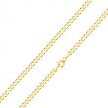 Řetízek ze žlutého zlata 375 - jemně zkosená šestiúhelníková očka, 500 mm