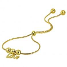 """Náramek zlaté barvy z chirurgické oceli - kuličky, přívěsek """"Love"""", motiv hadí kůže"""