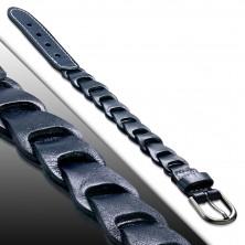 Náramek z pravé kůže - modrý pás prošívaný bílou nití, vyřezávané dílky