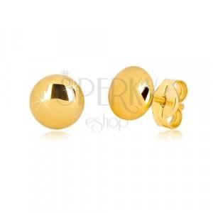 Náušnice v 9K žlutém zlatě - zrcadlově lesklý kroužek s jemně vypouklým povrchem