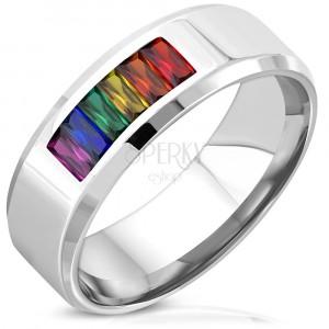 Prsten stříbrné barvy z chirurgické oceli - PRIDE FLAG, zaoblené zkosené hrany