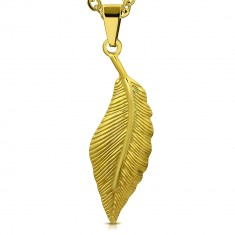 Přívěsek zlaté barvy z chirurgické oceli - ptačí pírko zdobené gravírováním