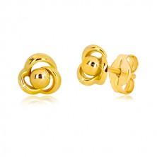 Náušnice ze žlutého zlata 375 - kvítek se třemi lupínky a kuličkou uprostřed
