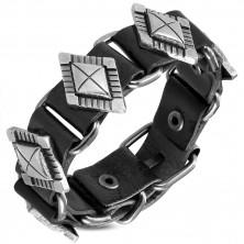 Kožený náramek černé barvy - ozdobně vyřezávané nýty v podobě diamantu