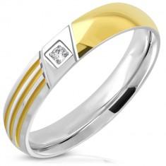 Dvoubarevný prsten z chirurgické oceli - čirý zirkon, tři úzké linie, 4 mm