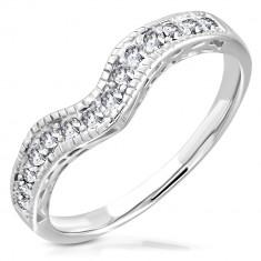 Ocelový prsten ve stříbrném barevném odstínu - zvlněná linie vykládaná zirkony