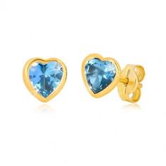 Zlaté 9K náušnice - tenká kontura srdce, syntetický akvamarín modré barvy