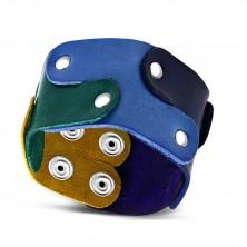 Náramek z pravé kůže - dílky puzzle pospojované nýty, duhové barvy, PRIDE