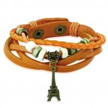 Multináramek oranžové barvy ze syntetické kůže - výplet, korálky a Eiffelova věž