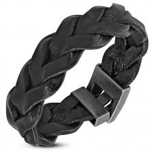 Náramek z koženky černé barvy - dva navzájem proplétané pásy