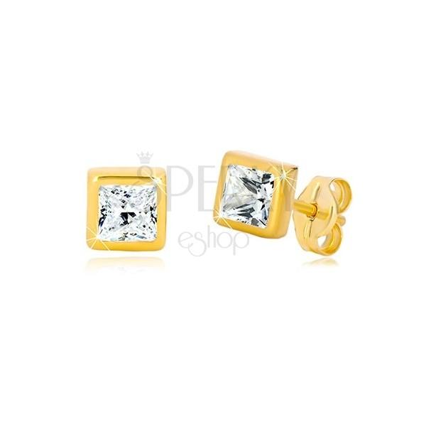 Náušnice v 9K žlutém zlatě - obrys čtverce, broušený čtvercový zirkon čiré barvy