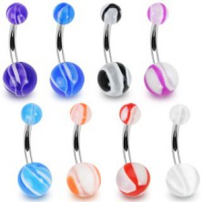 Piercing do pupíku barevný s bílými prvky, kulička