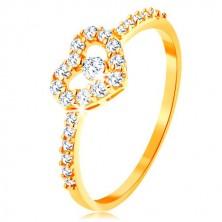 Zlatý prsten 375 - zirkonová ramena, blýskavý čirý obrys srdce se zirkonem