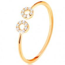 Zlatý prsten 375 s úzkými oddělenými rameny, malé zirkonové kroužky