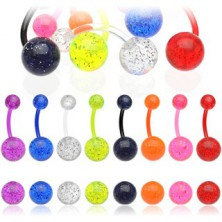 Piercing do pupíku - kuličky, glitry, různá barevná provedení