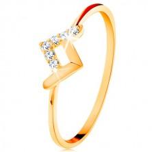 Blýskavý prsten ve žlutém 9K zlatě - lesklý a zirkonový zalomený proužek