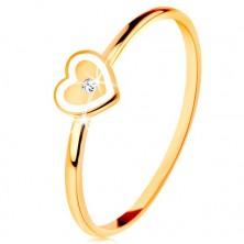 Prsten ve žlutém 9K zlatě - srdíčko s bílým okrajem a čirým zirkonkem