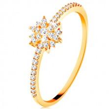 Prsten ze žlutého 9K zlata - zářivý květ z čirých zirkonů, třpytivá ramena