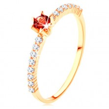 Zlatý prsten 375 - čiré zirkonové linie, vyvýšený kulatý červený granát