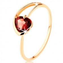 Prsten ze žlutého 9K zlata - červené granátové srdíčko, asymetrická ramena