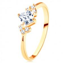 Blýskavý zlatý prsten 375 - čirý zirkonový čtvereček, čiré zirkonky po stranách