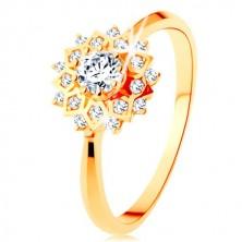 Zlatý prsten 375 - třpytivé slunce zdobené kulatými čirými zirkonky