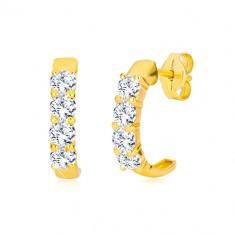Puzetové náušnice ve žlutém 9K zlatě - půlkruhy s čirými kulatými zirkony
