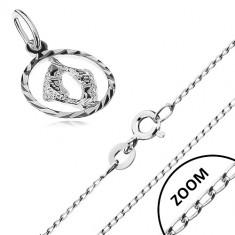 3ad041043 Stříbrný náhrdelník 925 - lesklý řetízek, přívěsek znamení RYBY