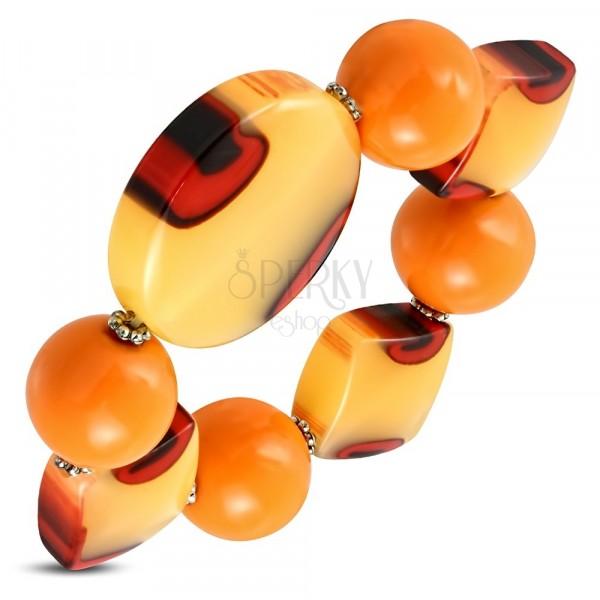 Pružný náramek - oranžové kuličky, mléčné sklo s oranžovým nádechem, očka