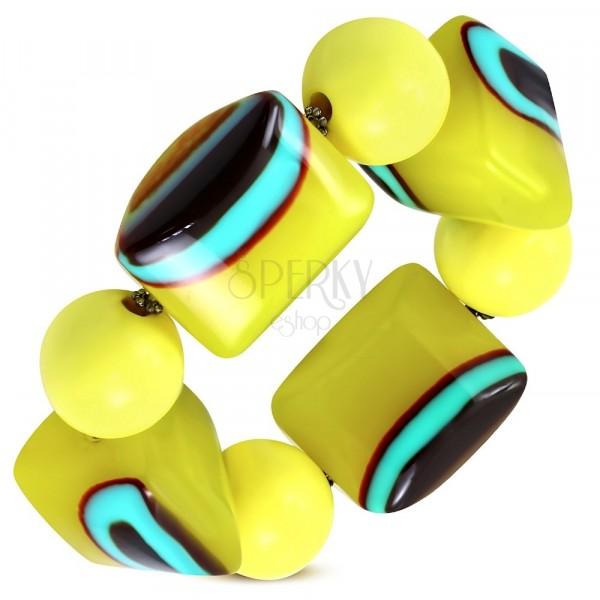 Roztahovací náramek - žluté kuličky, korálky z mléčného skla, tyrkysovo-hnědá očka