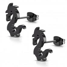 Náušnice z oceli v černém barevném odstínu - lesklý čínský drak, puzetky