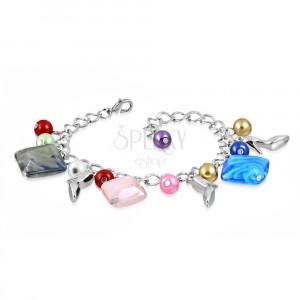 Náramek - lesklý řetízek, lodičky, barevné syntetické perličky a korálky
