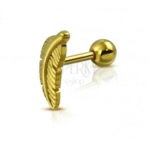 Piercing do tragu z chirurgické oceli - ptačí pírko, zlatá barva