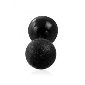 Ocelový piercing do ucha - hladká a pískovaná kulička černé barvy, 6 mm