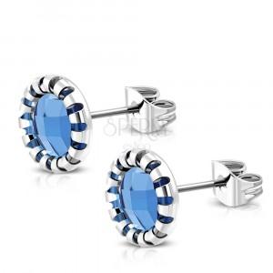Puzetové náušnice z chirurgické oceli - vyřezávaný květ, modrý kamínek