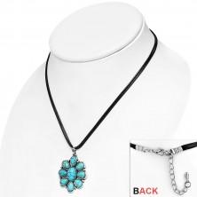 Černý šňůrkový náhrdelník - ozdobný květ s tyrkysovými kameny, slzy