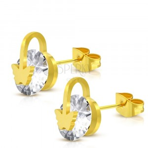 Ocelové náušnice zlaté barvy - blýskavý kulatý zirkon, motýlek a kroužek