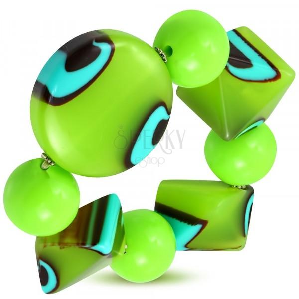 Roztahovací náramek - zelené kuličky, korálky z mléčného skla, tyrkysovo-hnědá očka